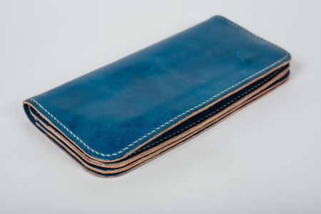 blue leather case notebook isolated on white background.