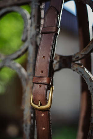 leather belt for men fashion for man buckle and brown strap.