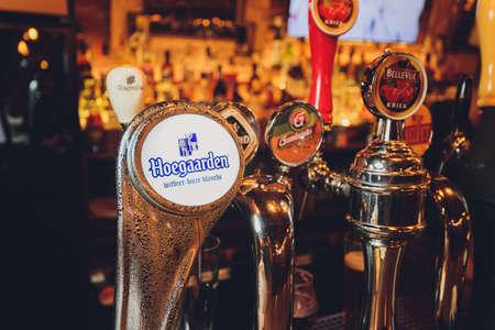 Ufa, Russia, 15 June, 2020: branded beer dispenser at the bar.