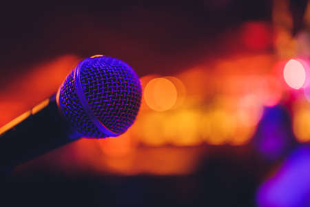 Close up of microphone in concert hall or conference room. Imagens