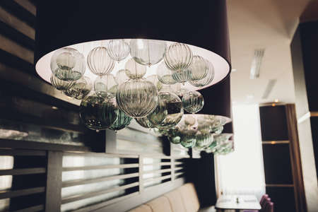 glass chandelier from the lowest point of view.