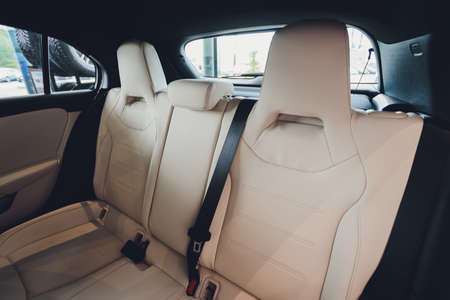 Interior view of car with leather salon. Banque d'images