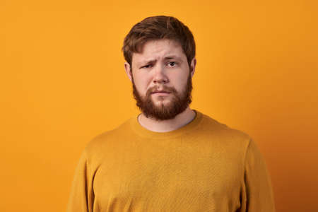Bewildered man with thick ginger beard, raises eyebrows, reacts on fake news from friend, looks directly at camera, dressed in casual t shirt, isolated over white background. Facial expressions.