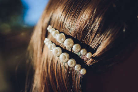 Pearl and filagree hair clasp in beautiful long reddish brown hair - close up. Standard-Bild