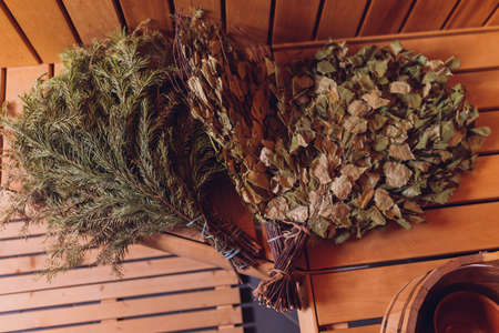 Birch and oak broom for a steam room.