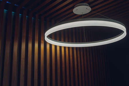 round ceiling lights in the night, interior design round lights on ceiling. Skylight with led strip.