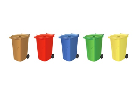 Recycling trash cans for organic garbage, paper, metal, plastic and electronics isolated Vector