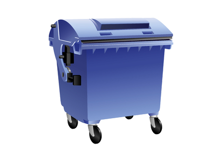Blue recycling container for paper isolated.