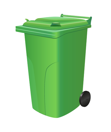Green recycling trash can isolated.