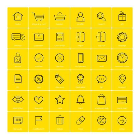 Ecommerce icons on yellow illustration. Illustration