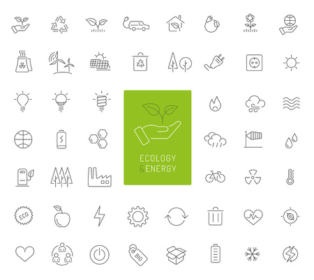 50 ecology, energy and environment icons Stock Illustratie
