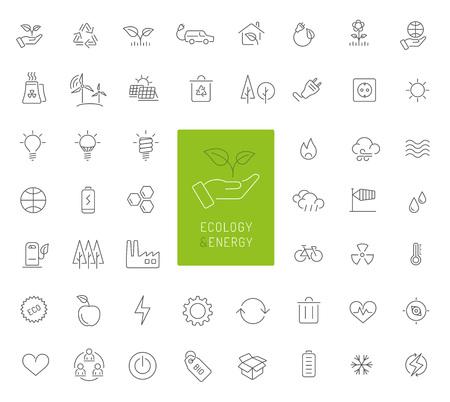 50 pictogrammen voor ecologie, energie en milieu Stockfoto - 92136047