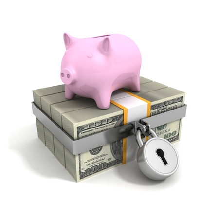 money packs: money dollar currency packs security padlock and piggy bank Stock Photo