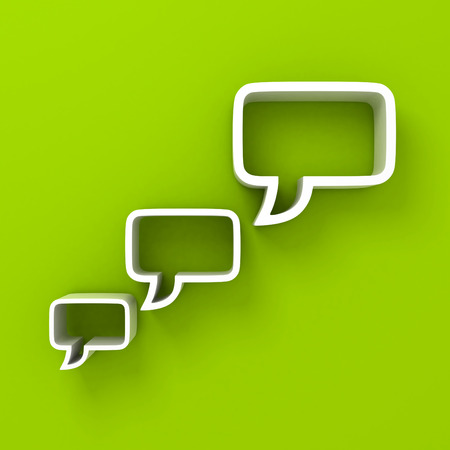white speech bubbles on green background photo