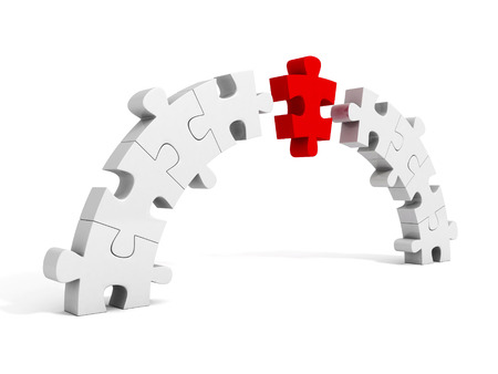 leadership key: piece of red puzzle connect bridge two groups