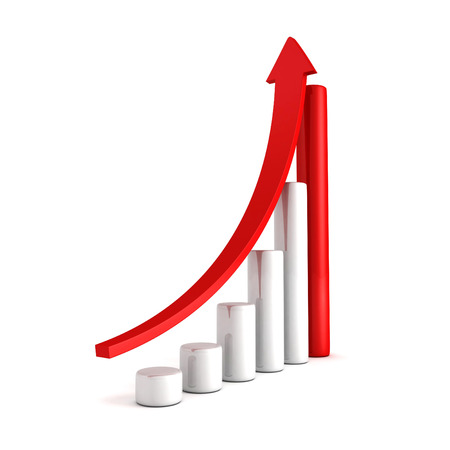 Red Bar Chart Business Growth With Rising Up Arrow photo