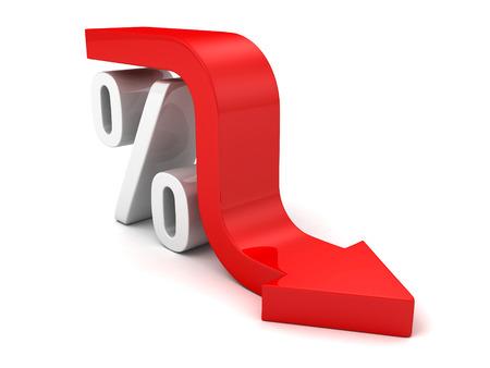Red Fall Arrow Interest Percent Symbol 스톡 콘텐츠