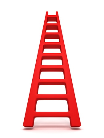 Red success concept ladder on white background 3d photo