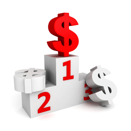 red dollar currency symbol on first place top photo
