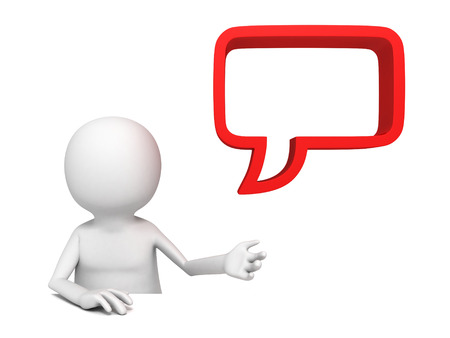 White 3d man with blank red speech bubble. 3d render illustration illustration