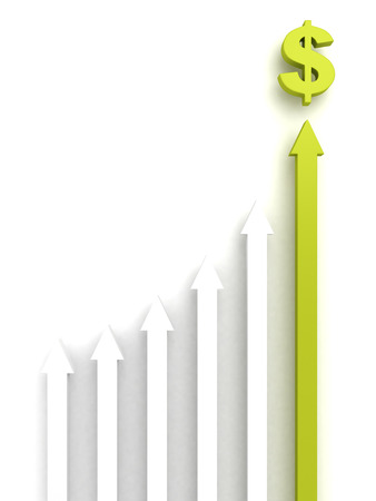 welth: concept rising group of arrows with green top leader to dollar money symbol Stock Photo