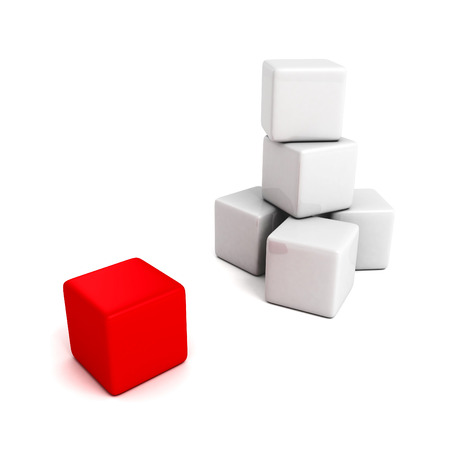 different red cube out from white tower stack. business concept 3d render illustration