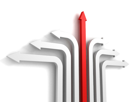 slew: red arrow leader rising up success direction of development Stock Photo