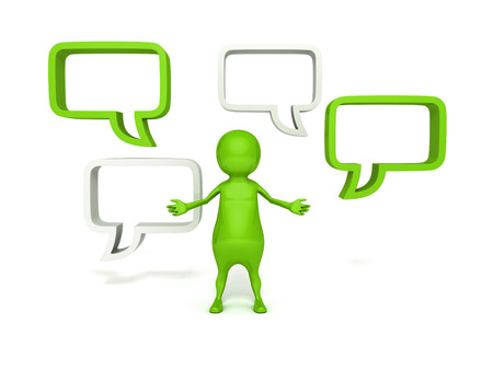 3d  man and blank speech bubbles on white background photo