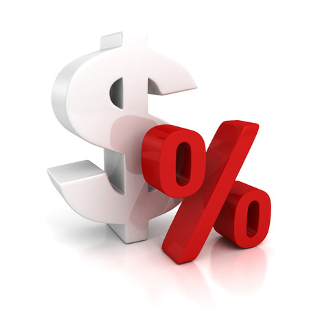 3d big dollar currency symbol and red percent sign photo