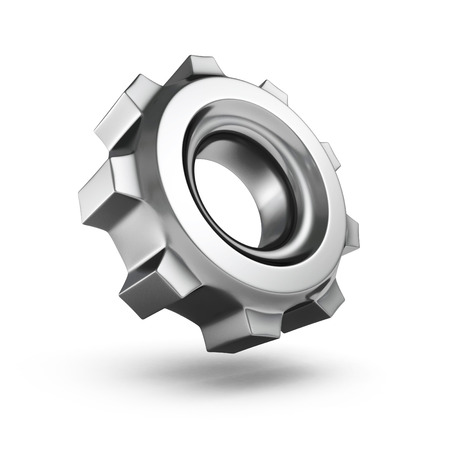 3D dark metallic gear isolated on white background photo
