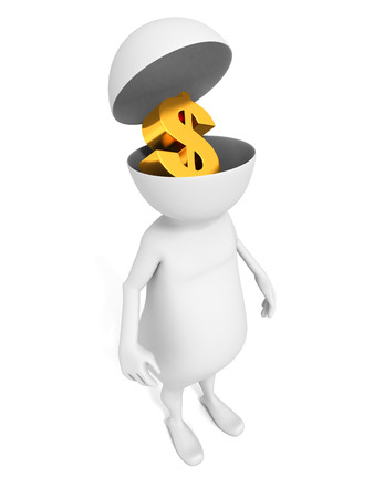 unreliable: white 3d man with golden dollar symbol in opened head Stock Photo