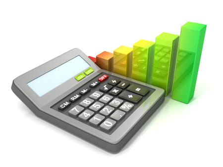 Calculator and bar graph diagram photo