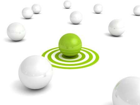 Different green ball on target out from white balls. Individual business leadership success concept 3d render illustraition Standard-Bild