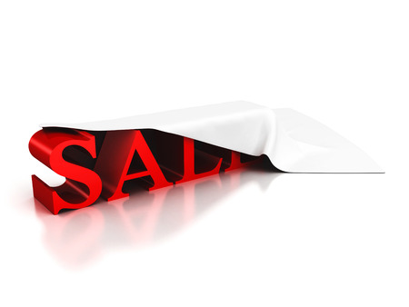 red sale text under cloth cover on white background photo