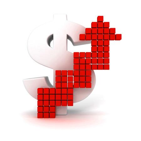 letra de cambio: gran signo de dólar con la flecha roja que crece Foto de archivo