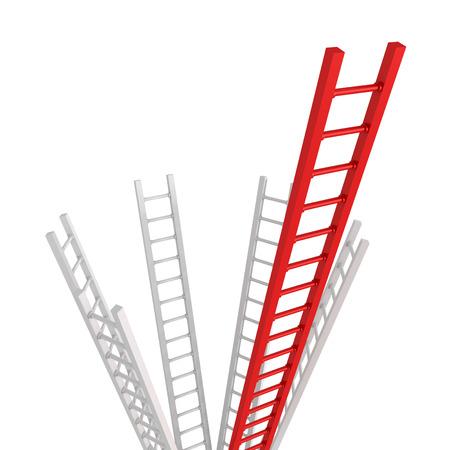Red Ladder leader as a concept idea of success or leadership teamwork 3d illustration illustration