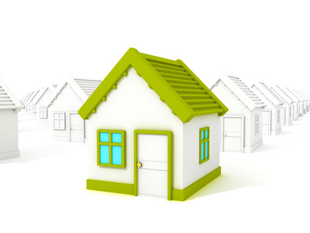 sold small: 3d different house with green roof standing out from crowd Stock Photo