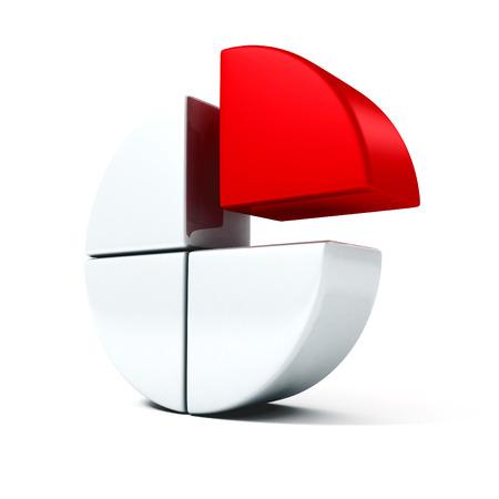 business pie chart diagram red part icon. 3d render illustration illustration