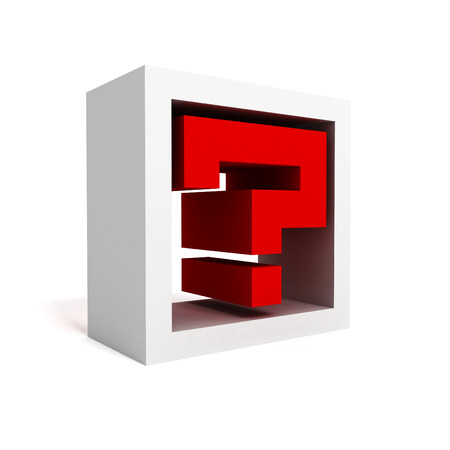 interrogative: red question mark block icon symbol on white. 3d render illustration