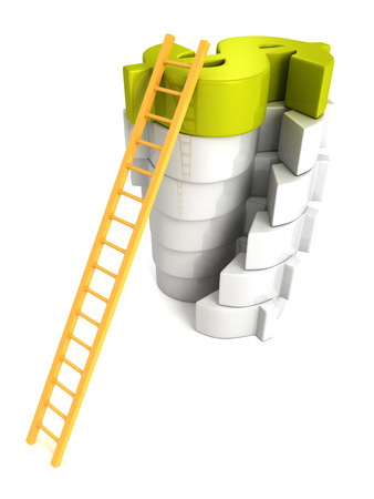 Concept success ladder to top green Dollar symbol photo