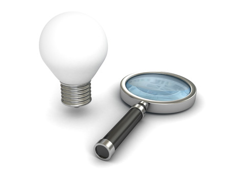 axiom: Magnifying glass with light bulb on white background. search idea concept 3d render illustration Stock Photo