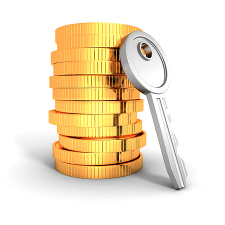 stack of golden coins with metallic key photo