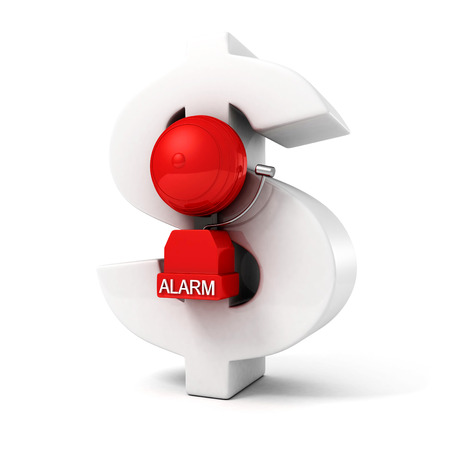 fire alarm on big dollar currency symbol white background photo