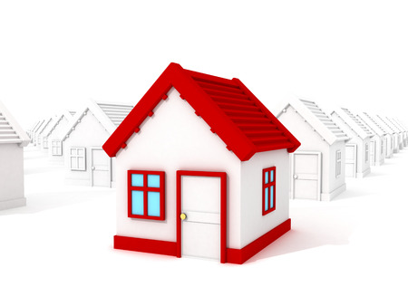 3d different house with red roof standing out from crowd photo