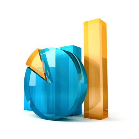 impost: glossy glass business diagram graph. 3d render illustration