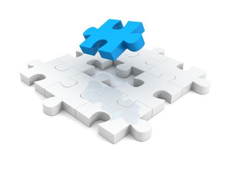 지그 소 퍼즐 구조의 다른 파란색 조각