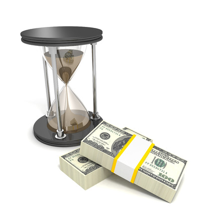 timely: Time is money concept with hundred dollar bills and hourglass