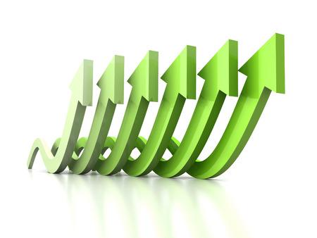 성장 물결 흰색 반사에 녹색 그룹을 화살표