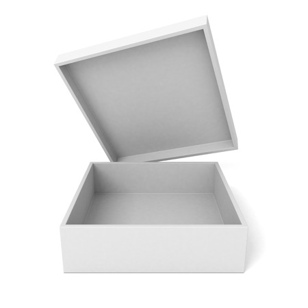 Open package cardboard box on white background. 3d render illustration