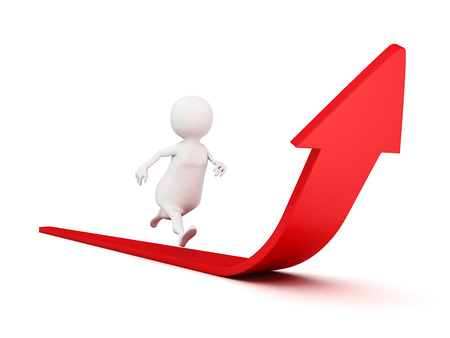 sports symbols metaphors: 3d business person running grow arrow